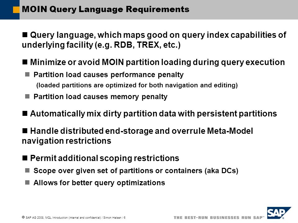 MOIN Query Language Requirements