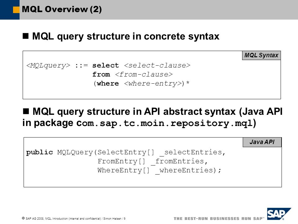 MQL query structure in concrete syntax