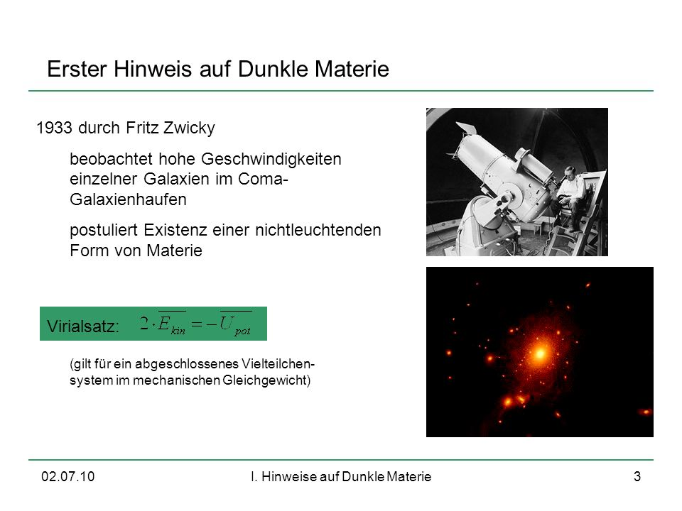 I. Hinweise auf Dunkle Materie