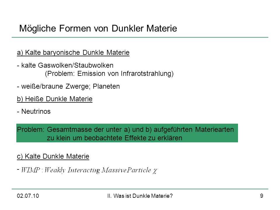 II. Was ist Dunkle Materie