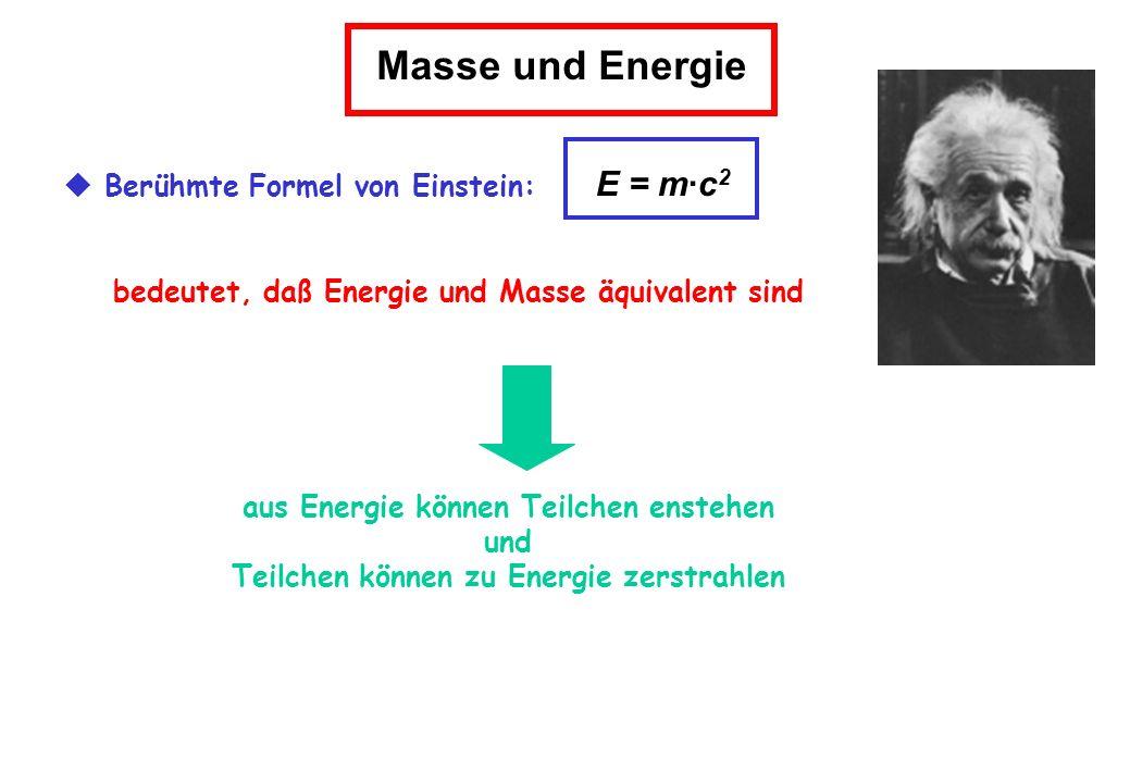 Masse und Energie  Berühmte Formel von Einstein: E = m·c2