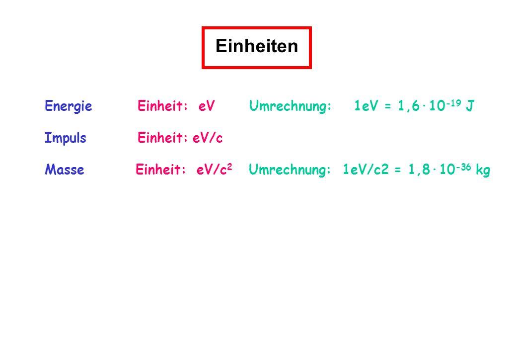Einheiten Energie Einheit: eV Umrechnung: 1eV = 1,6·10-19 J