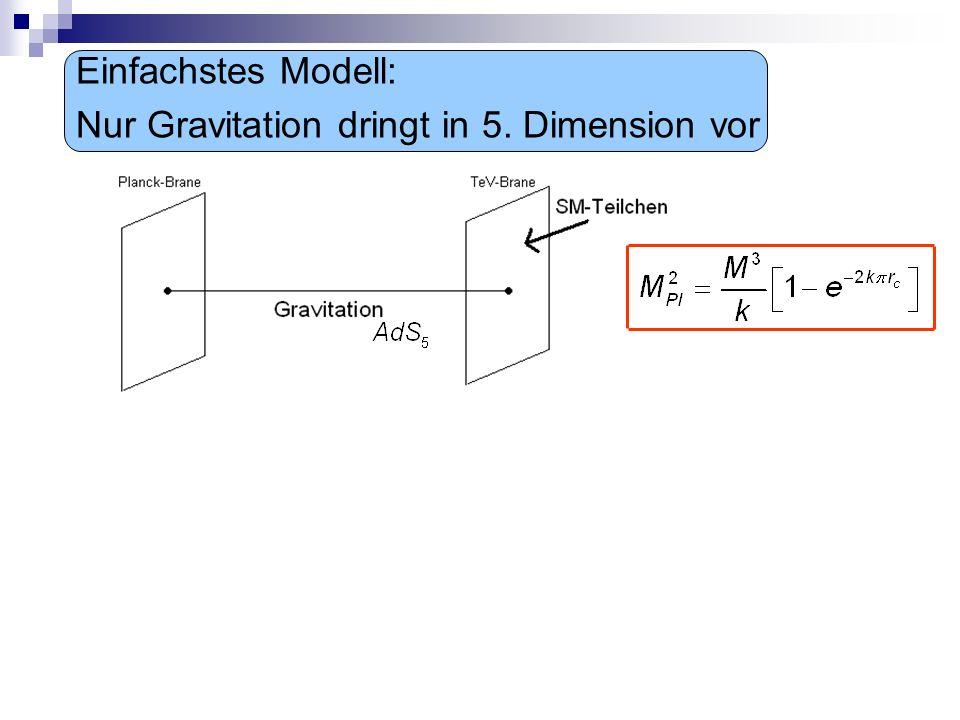 Einfachstes Modell: Nur Gravitation dringt in 5. Dimension vor