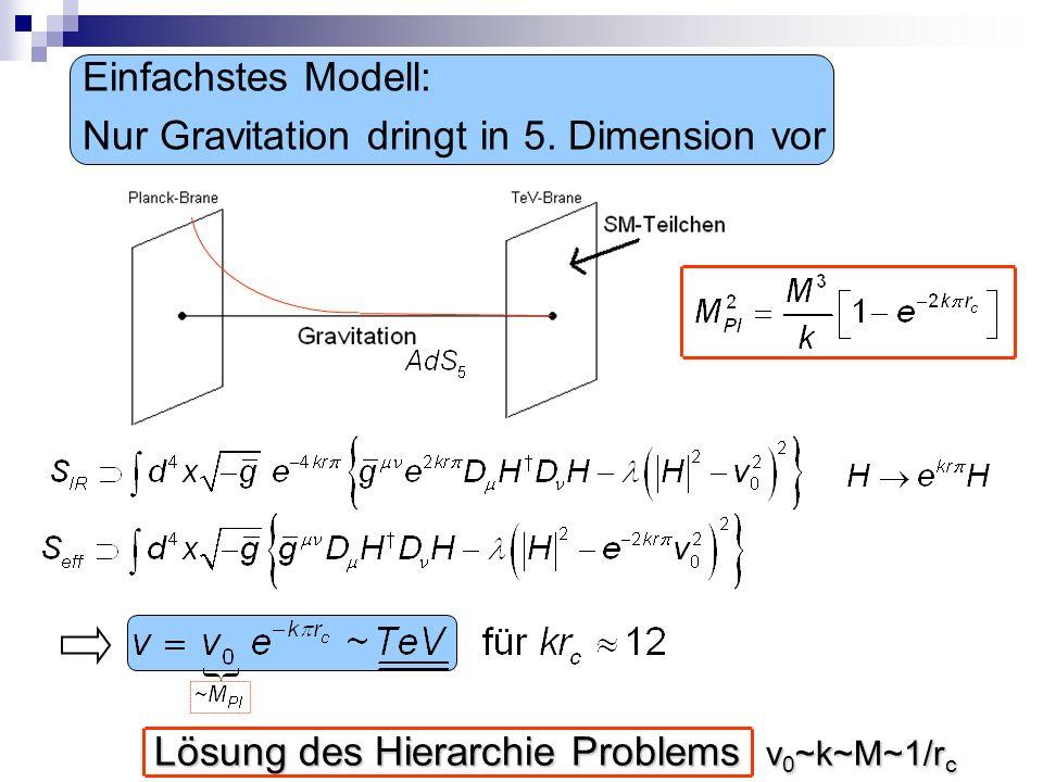 Einfachstes Modell: Nur Gravitation dringt in 5. Dimension vor.