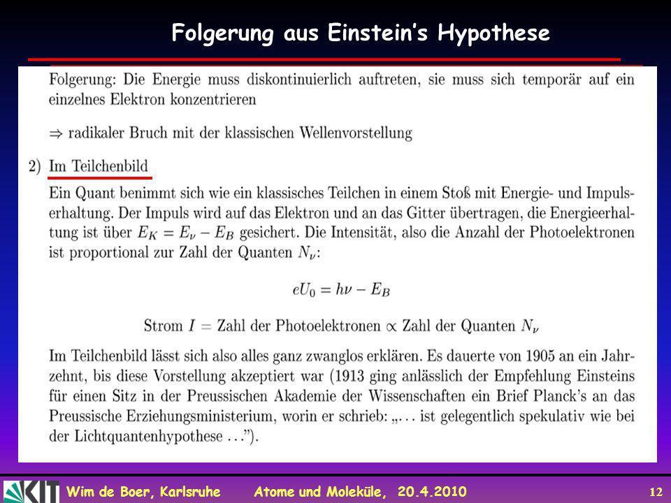 Folgerung aus Einstein's Hypothese