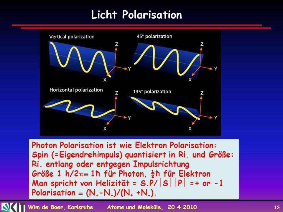 Licht Polarisation Photon Polarisation ist wie Elektron Polarisation: