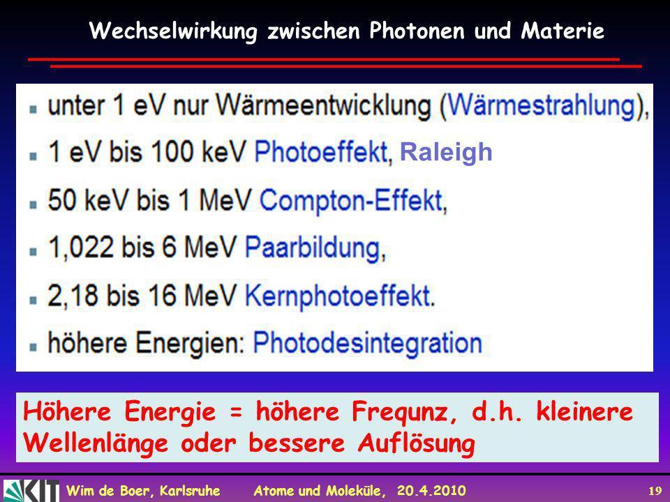 Höhere Energie = höhere Frequnz, d.h. kleinere