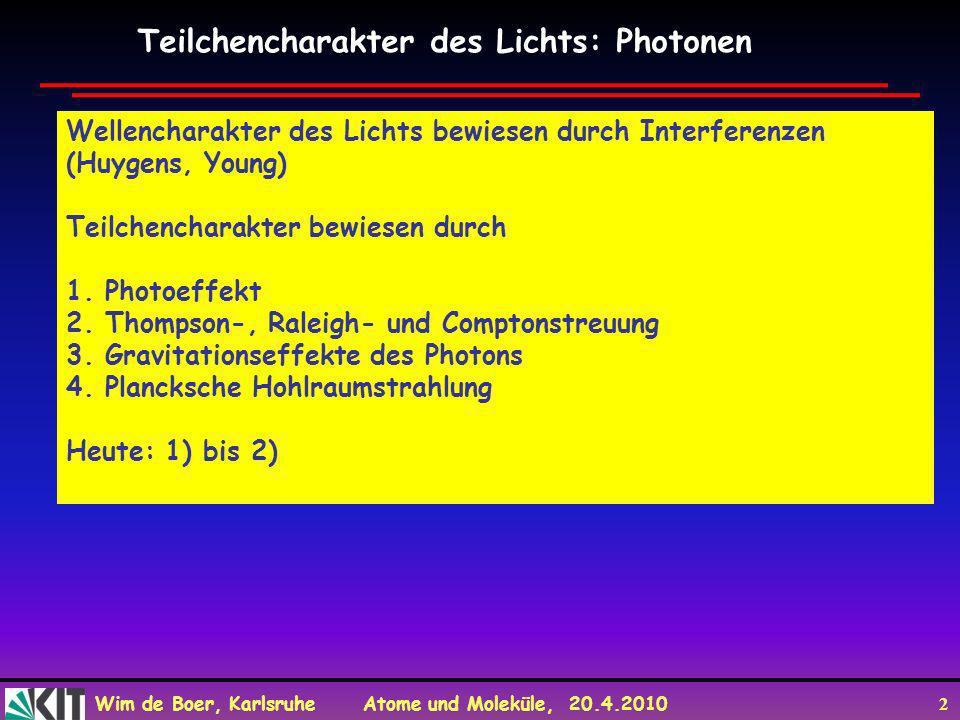 Teilchencharakter des Lichts: Photonen