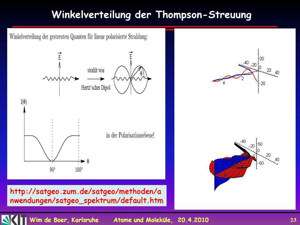 Winkelverteilung der Thompson-Streuung