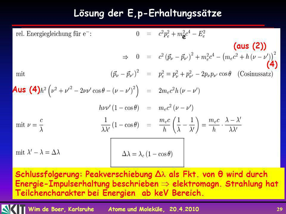 Lösung der E,p-Erhaltungssätze