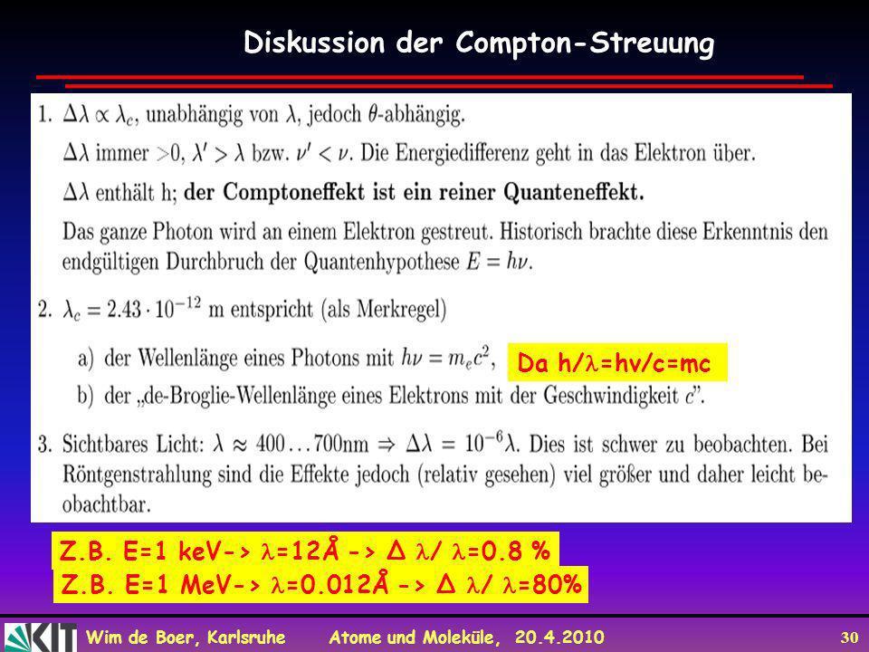 Diskussion der Compton-Streuung