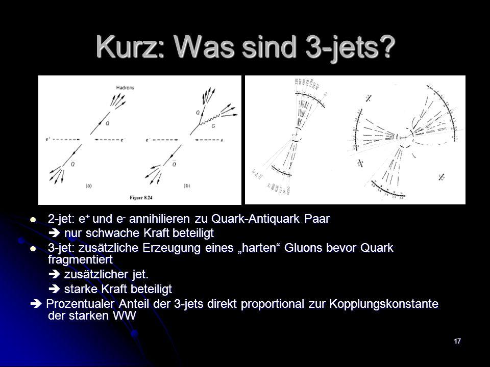 Kurz: Was sind 3-jets 2-jet: e+ und e- annihilieren zu Quark-Antiquark Paar.  nur schwache Kraft beteiligt.