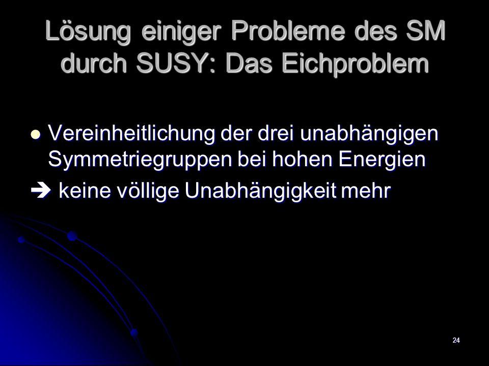 Lösung einiger Probleme des SM durch SUSY: Das Eichproblem