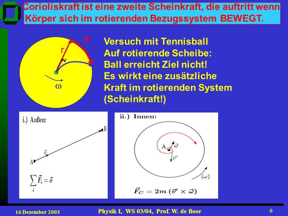 Corioliskraft ist eine zweite Scheinkraft, die auftritt wenn