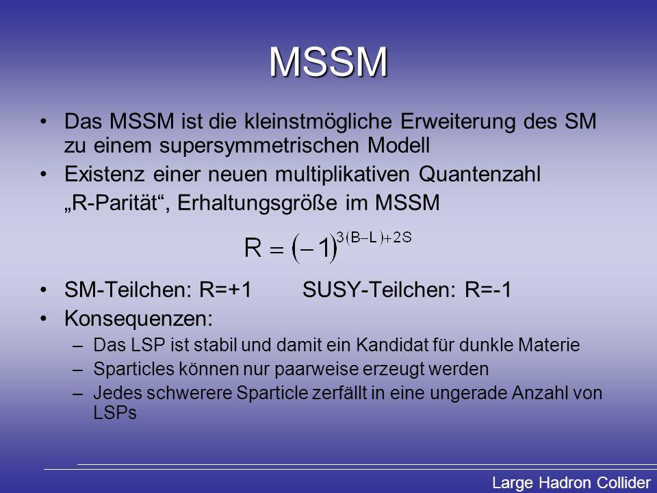 MSSM Das MSSM ist die kleinstmögliche Erweiterung des SM zu einem supersymmetrischen Modell. Existenz einer neuen multiplikativen Quantenzahl.