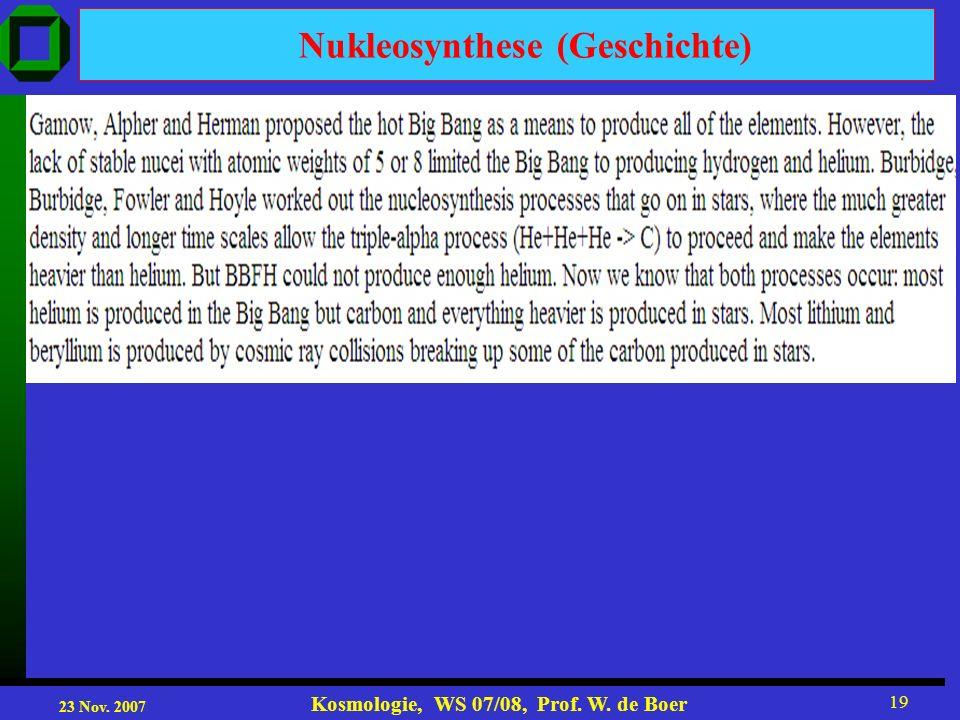 Nukleosynthese (Geschichte)