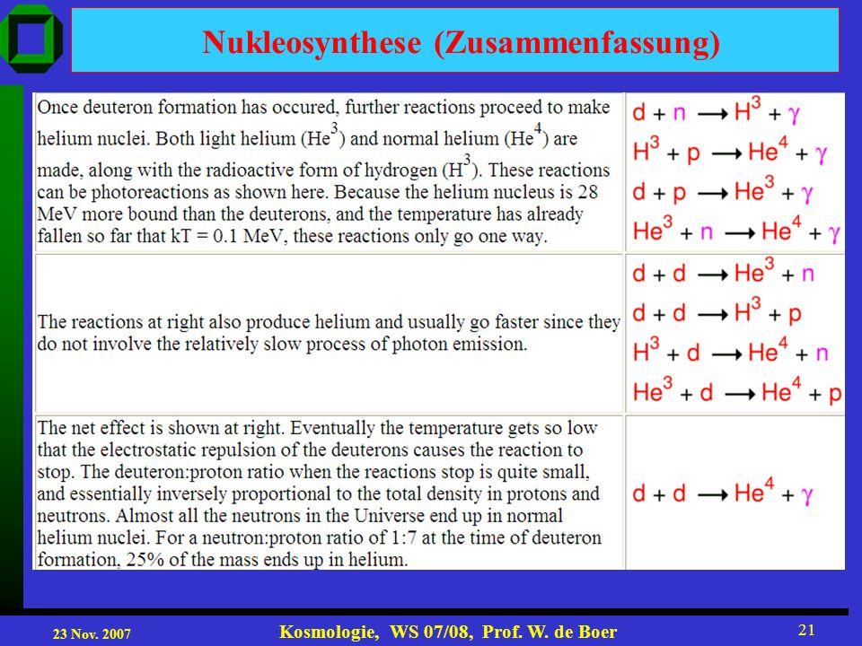 Nukleosynthese (Zusammenfassung)