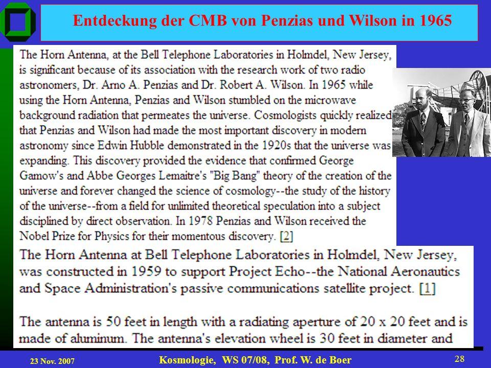 Entdeckung der CMB von Penzias und Wilson in 1965