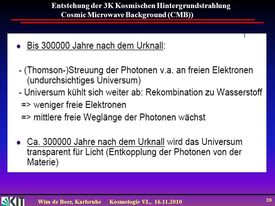 Entstehung der 3K Kosmischen Hintergrundstrahlung