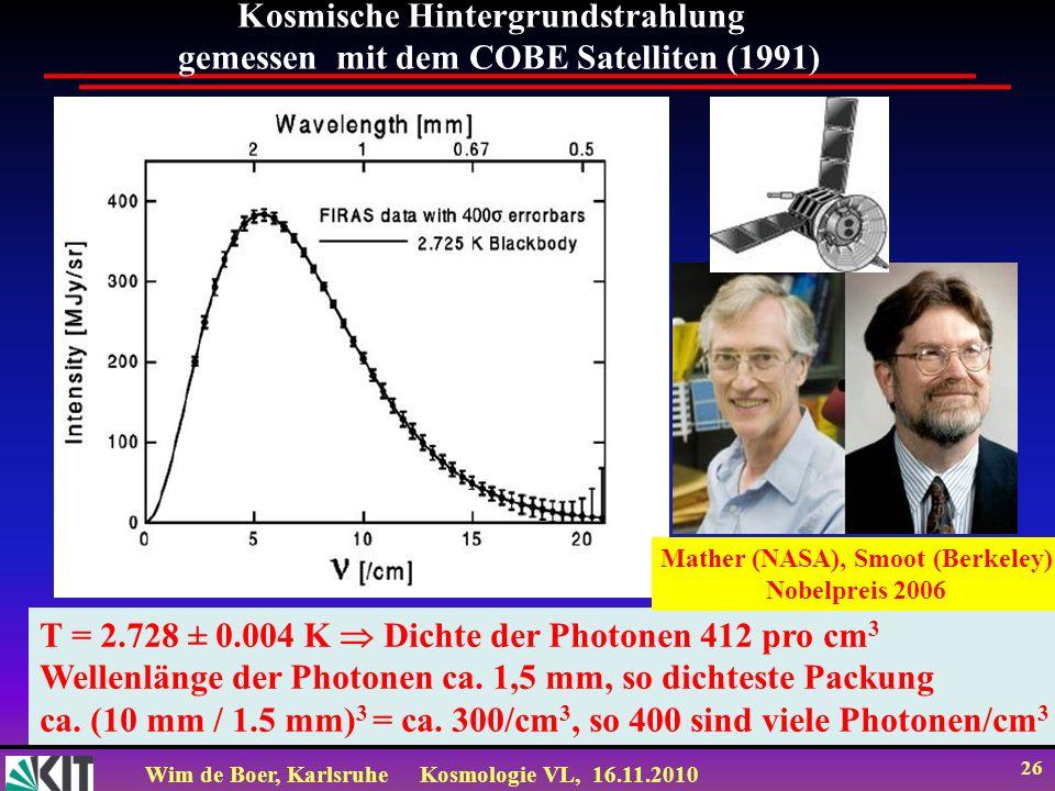 Kosmische Hintergrundstrahlung gemessen mit dem COBE Satelliten (1991)