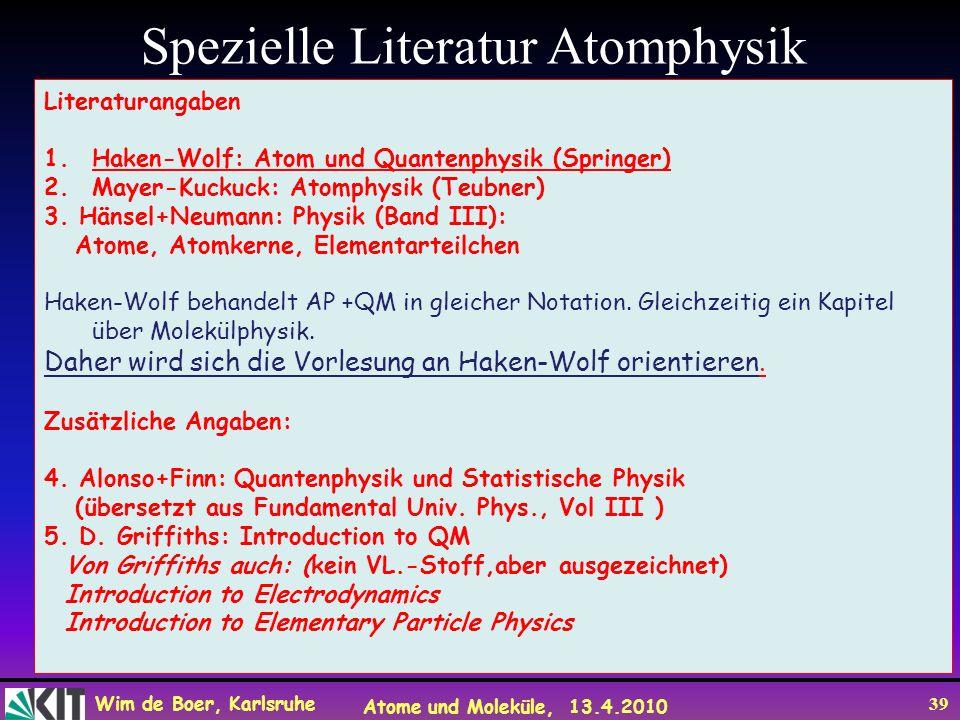 Spezielle Literatur Atomphysik