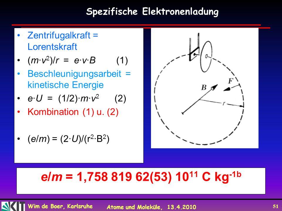 e/m = 1,758 819 62(53) 1011 C kg-1b Spezifische Elektronenladung