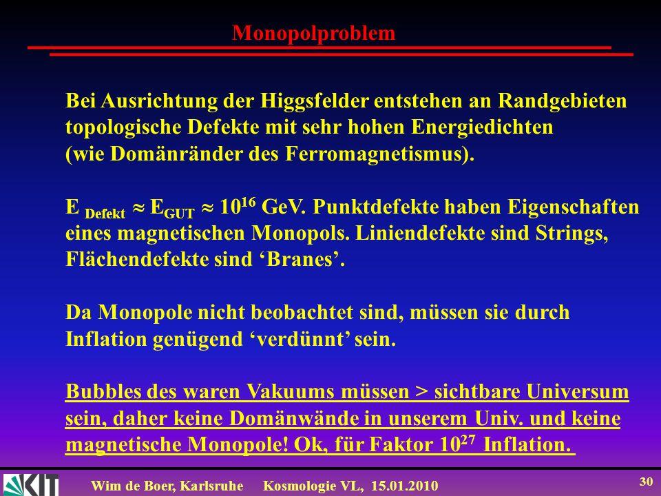 MonopolproblemBei Ausrichtung der Higgsfelder entstehen an Randgebieten. topologische Defekte mit sehr hohen Energiedichten.