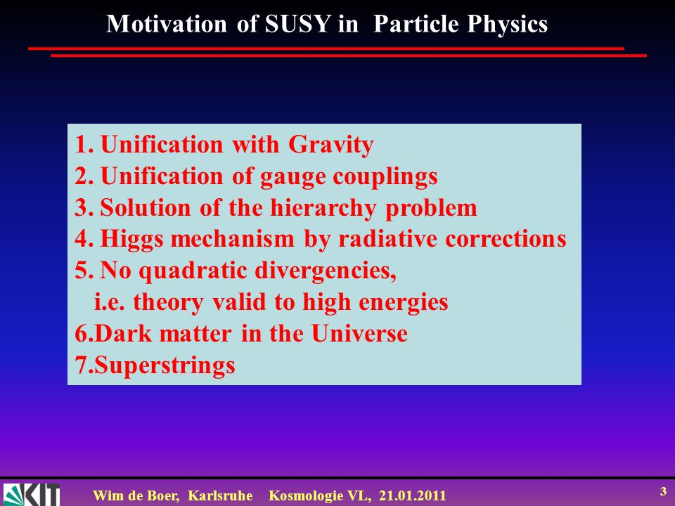 Motivation of SUSY in Particle Physics