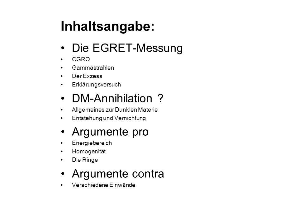 Inhaltsangabe: Die EGRET-Messung DM-Annihilation Argumente pro