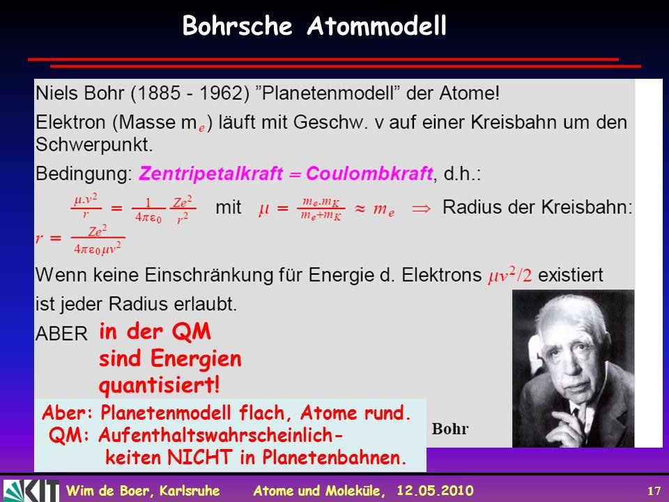 Bohrsche Atommodell in der QM sind Energien quantisiert!