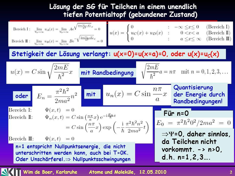 Lösung der SG für Teilchen in einem unendlich
