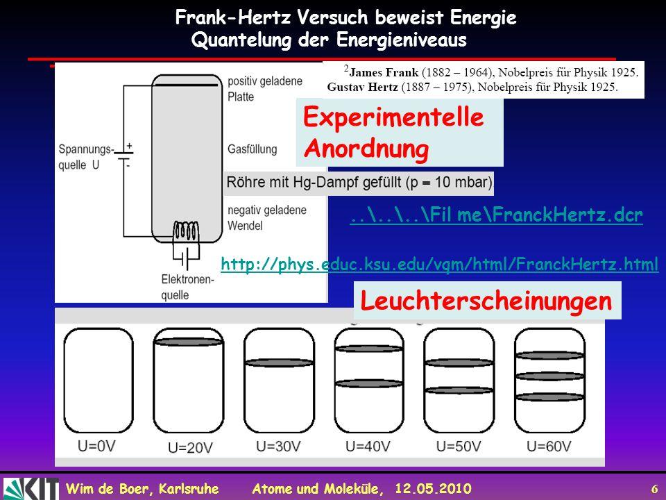 Experimentelle Anordnung Leuchterscheinungen