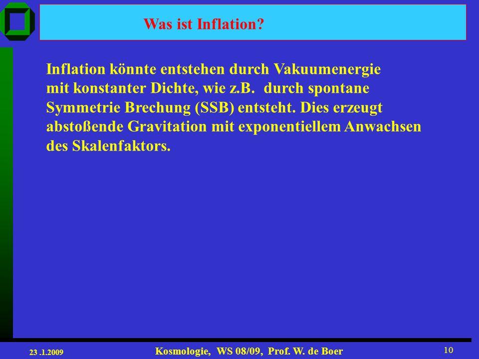Was ist Inflation Inflation könnte entstehen durch Vakuumenergie. mit konstanter Dichte, wie z.B. durch spontane.