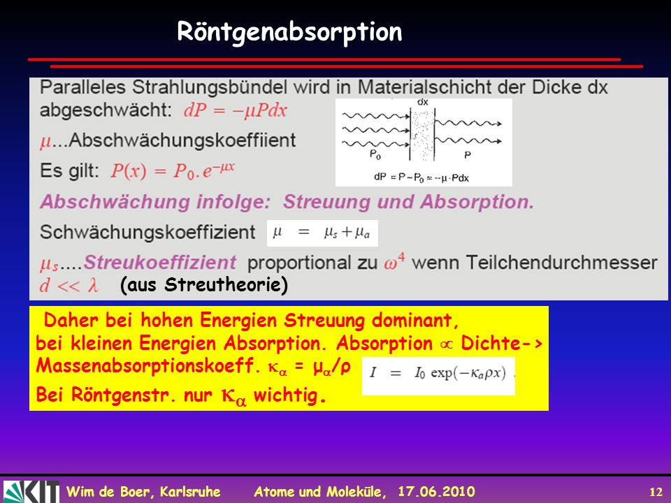 Röntgenabsorption (aus Streutheorie)