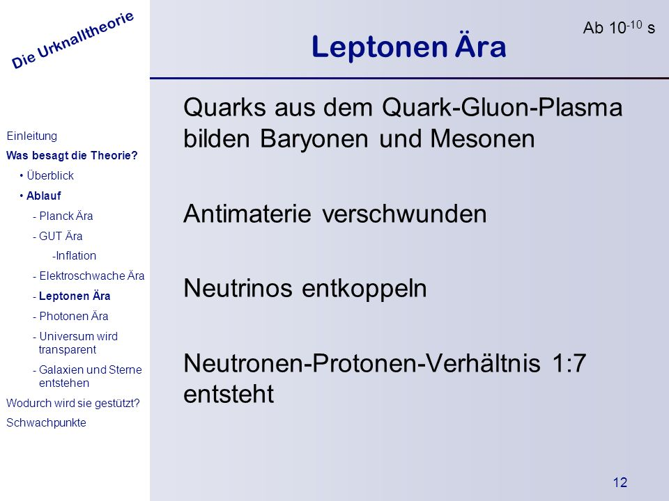 Ab 10-10 s Leptonen Ära. Quarks aus dem Quark-Gluon-Plasma bilden Baryonen und Mesonen. Antimaterie verschwunden.
