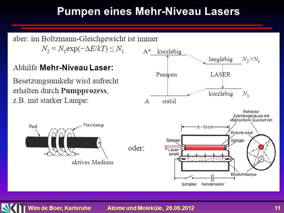 Pumpen eines Mehr-Niveau Lasers