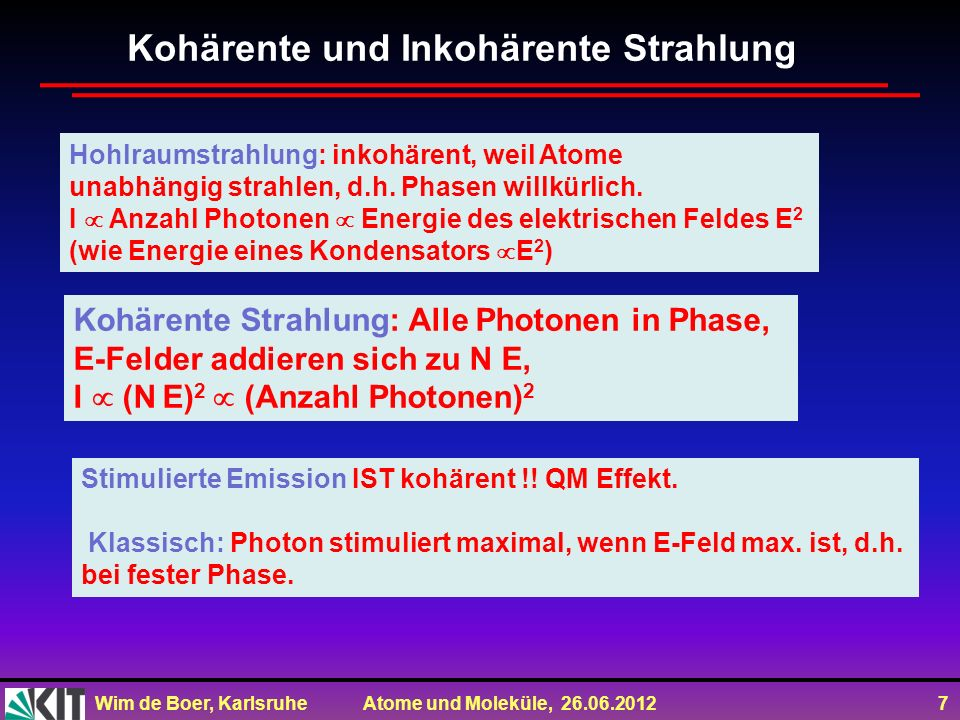 Kohärente und Inkohärente Strahlung