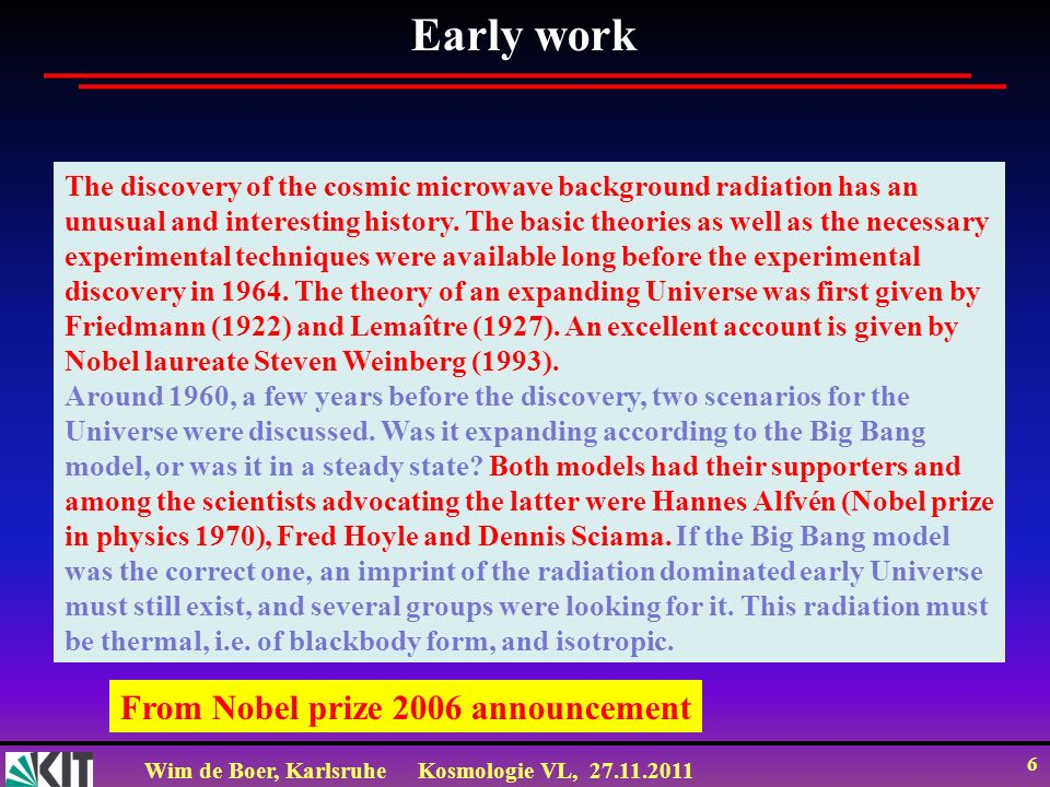 Early work From Nobel prize 2006 announcement