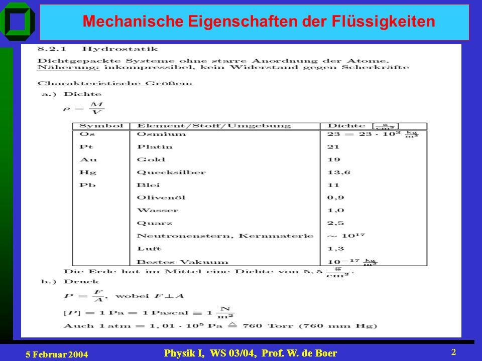 Mechanische Eigenschaften der Flüssigkeiten