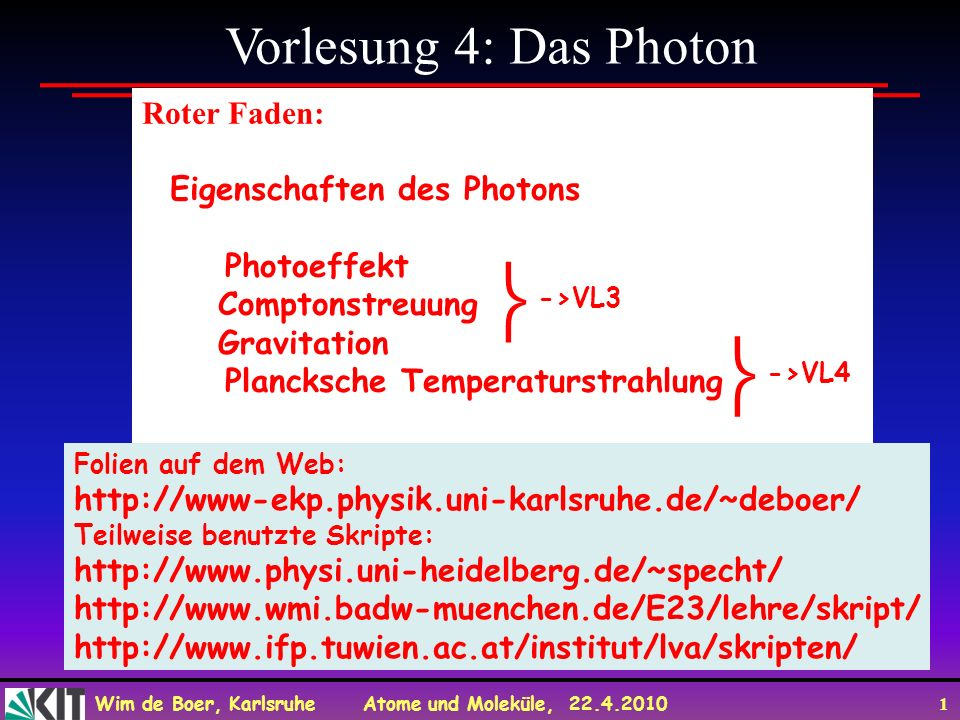   Vorlesung 4: Das Photon Roter Faden: Eigenschaften des Photons