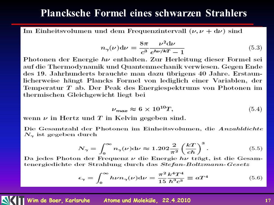 Plancksche Formel eines schwarzen Strahlers