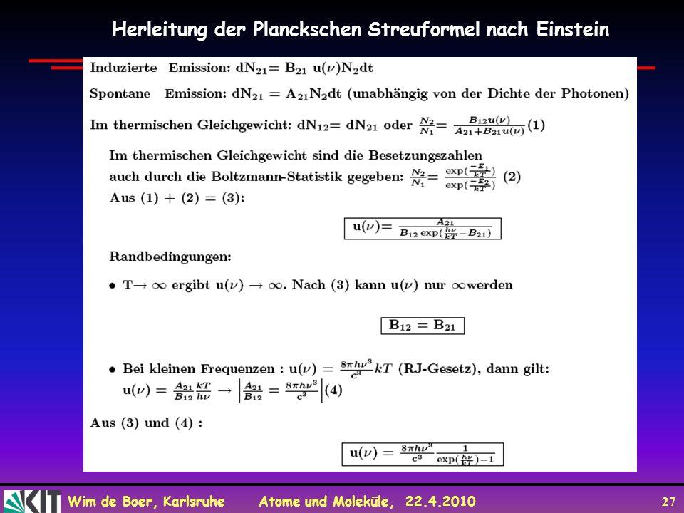 Herleitung der Planckschen Streuformel nach Einstein