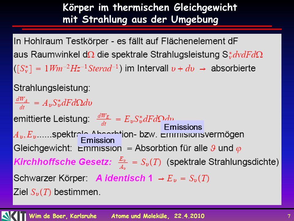 Körper im thermischen Gleichgewicht mit Strahlung aus der Umgebung