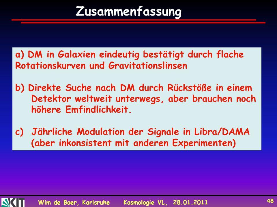 Zusammenfassung a) DM in Galaxien eindeutig bestätigt durch flache