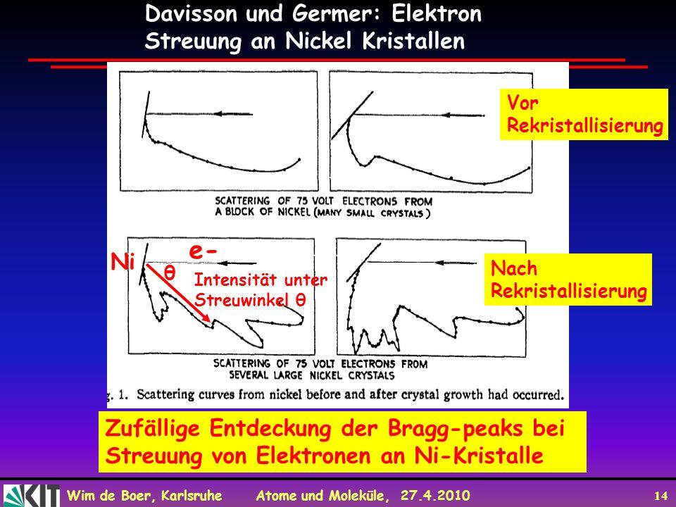 e- Davisson und Germer: Elektron Streuung an Nickel Kristallen Ni