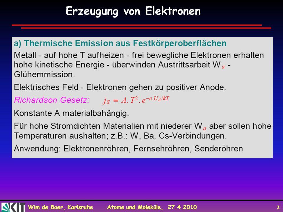 Erzeugung von Elektronen