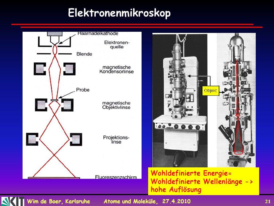 Elektronenmikroskop Wohldefinierte Energie=