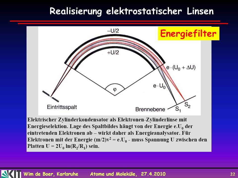 Realisierung elektrostatischer Linsen