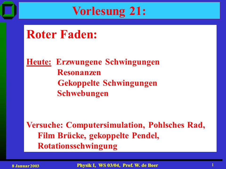 Vorlesung 21: Roter Faden: Heute: Erzwungene Schwingungen Resonanzen