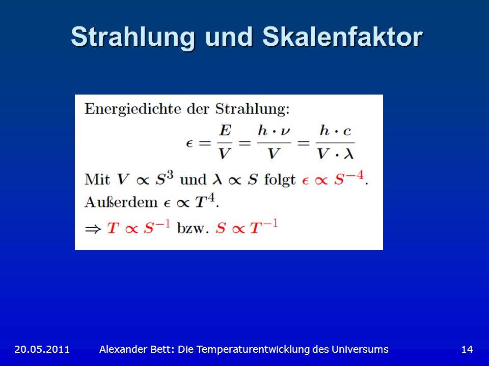 Strahlung und Skalenfaktor